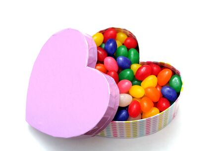 coloful candies in heart shape box for Valentine day