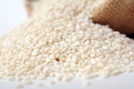 sweet rice    and burlap  Banco de Imagens