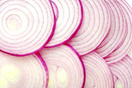 Scheiben von lila Zwiebeln für Hintergrundanwendungen