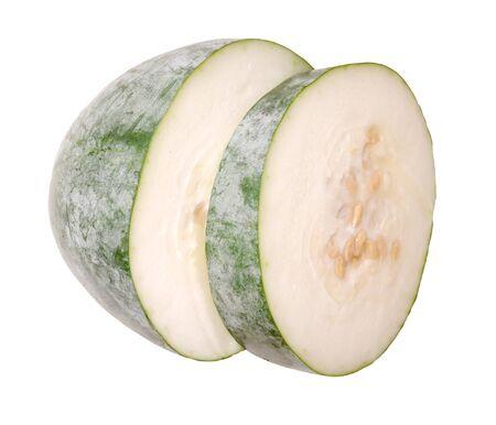 Couper le melon d'hiver isolé sur blanc Banque d'images