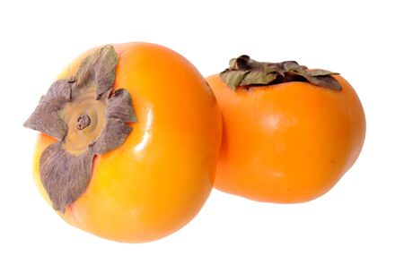 two  persimmons isolated on white background Stock Photo
