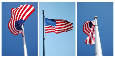 three views of American flag for background uses Imagens