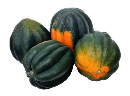 a group of acorn squash isolated on white