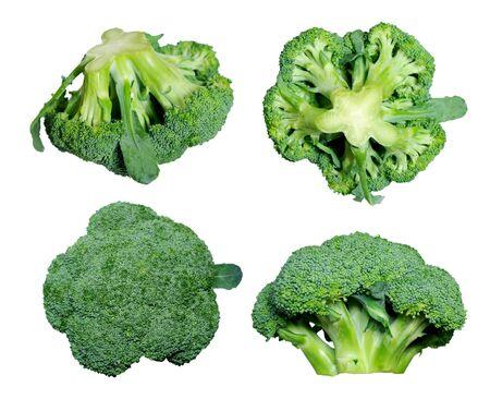 Cuatro vistas diferentes de brócoli aislado en blanco Foto de archivo