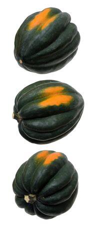 three different angle views of acorn squash on white