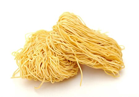 two bunch of dried noodle on white background