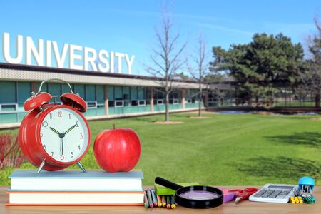 composition of concept of higher education: book, campus, university