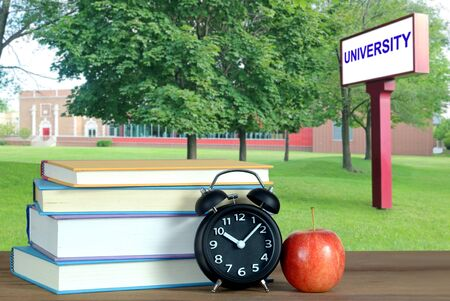 Book and campus of university for education concept