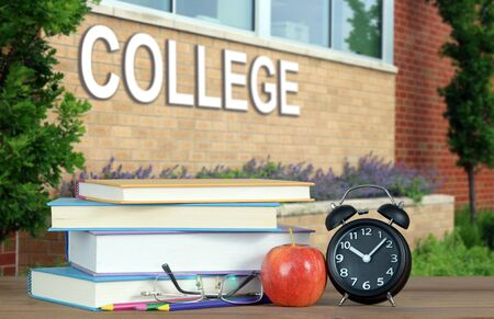 college with book and accessory for education concept Banco de Imagens