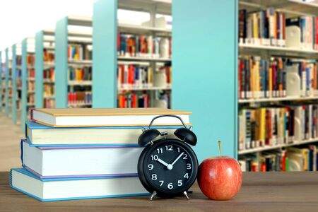composition of library with book and accessory for education concept