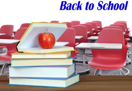 books and back to school concept against white wall Banque d'images - 137146187