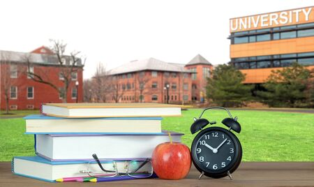 a composition with university campus and book for education concept Banque d'images - 137146191