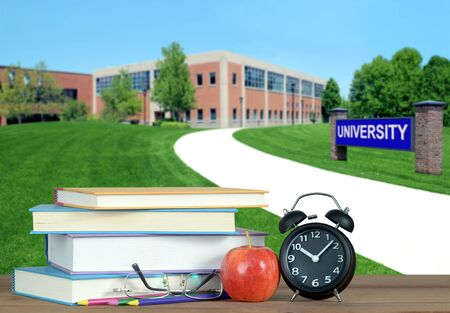 higher education concept with book and university