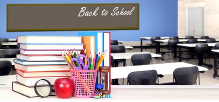 Back To School concept with stack of books in the classroom Banque d'images - 137146240
