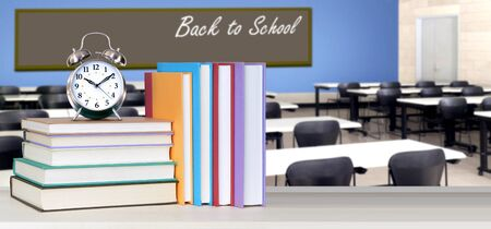 Back To School concept with stack of books in the classroom Banque d'images - 137146201