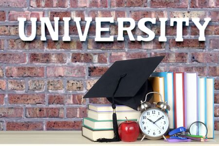 book and university for an education concept