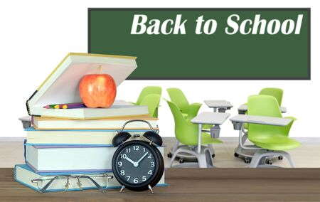 books and empty classroom for back to school concept