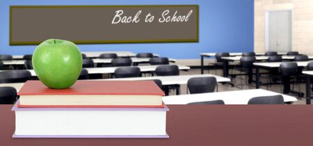 Back To School concept with stack of books in the classroom Banque d'images - 137146294
