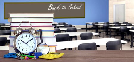 Back To School concept with stack of books in the classroom Banque d'images - 137146315