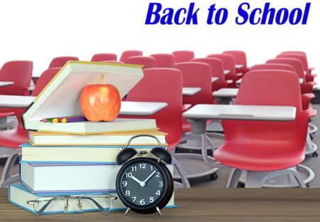 books and back to school concept against white wall Banco de Imagens