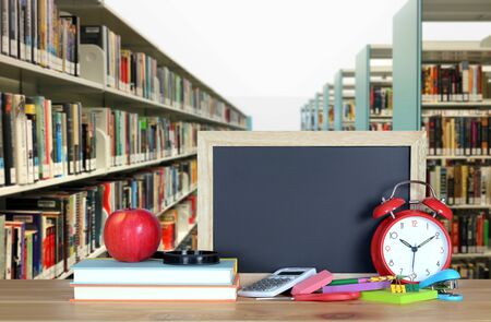 book and library for education concept (blurry background)