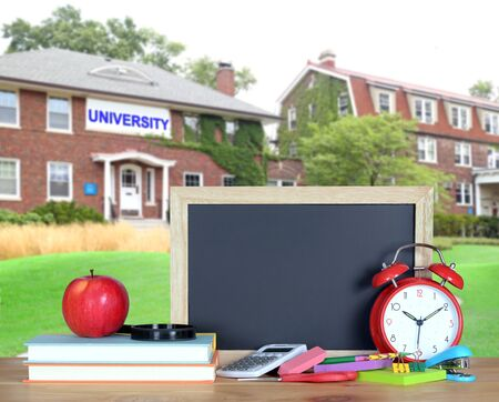 education concept with university campus and books