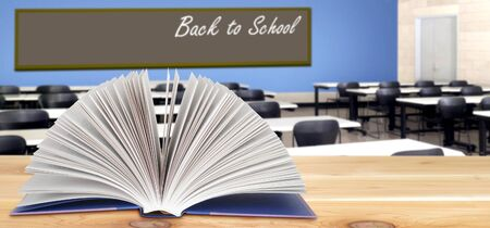 Back To School concept with stack of books in the classroom Banque d'images - 137134865
