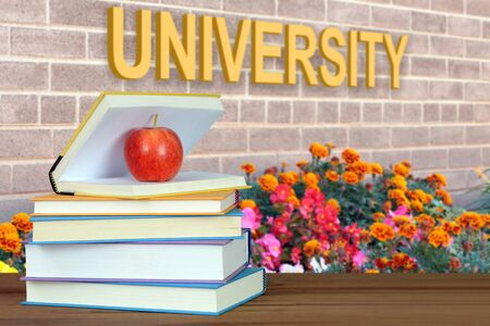 A concept of education with book and university word (composition) Banco de Imagens
