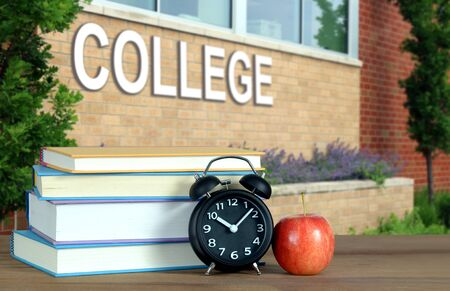 college with book and accessory for education concept Banque d'images - 137146328