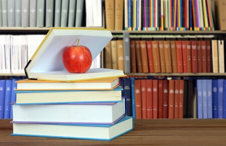 education concept with books, accessories and blurry background