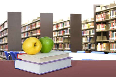 education concept with book and library in the background Banque d'images - 137134749