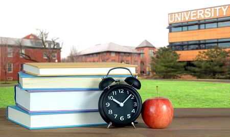 a composition with university campus and book for education concept