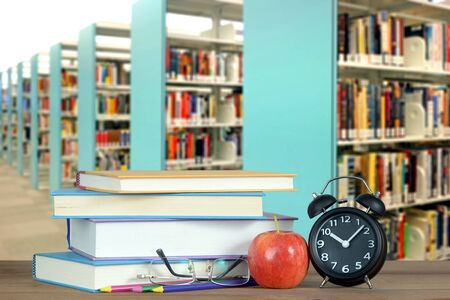 composition of library with book and accessory for education concept Banque d'images - 137134622