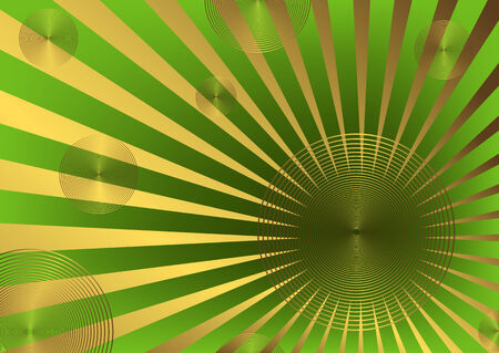 Green vector abstract background with golden beams Vector