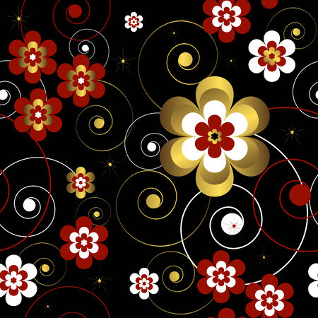 Abstract vector seamless floral  black pattern