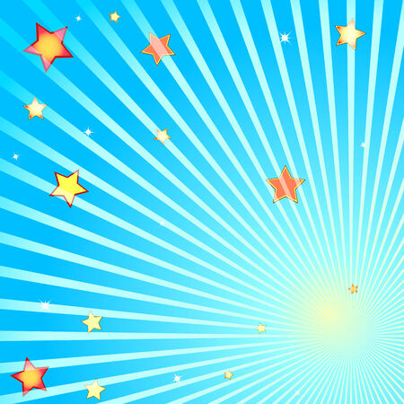 Beams and stars on a blue background Illustration