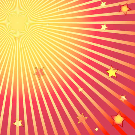 Beams and stars on red and yellow background Illustration