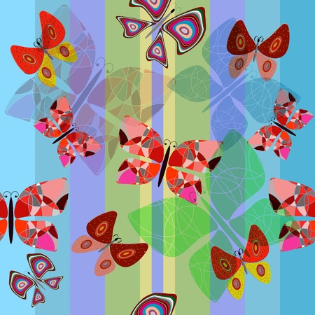 seamless illustration with butterflies and colored lines Vector