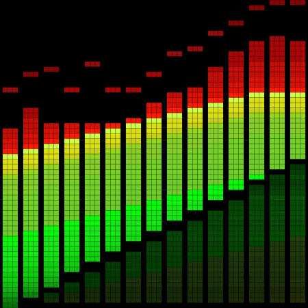 grooves: Vector illustration of a graphic equalizer or limiter Illustration
