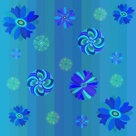 seamless blue floral background with lines Illustration