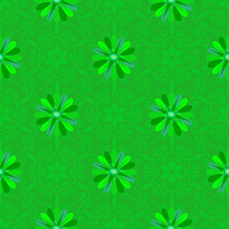Vector seamless green floral background and geometric pattern
