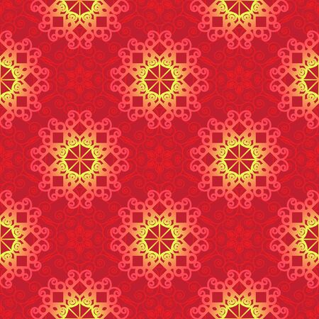Vector seamless red and yellow pattern on red geometric background