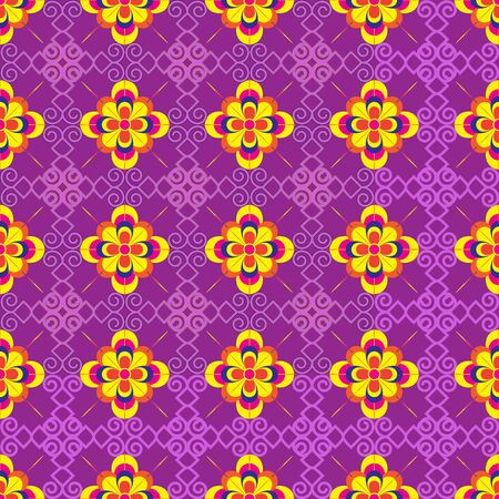 Vector seamless multi-collor flowers background and geometric pattern on blue
