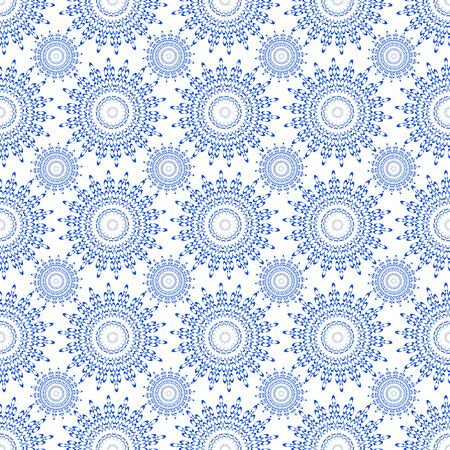 Vector seamless blue ornament background and geometric pattern