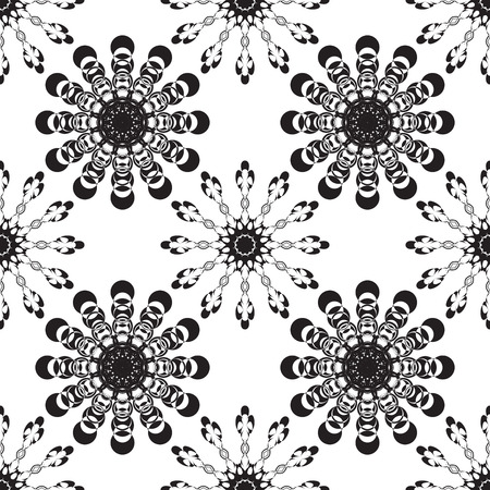 Vector seamless black ornament background and geometric pattern Illustration