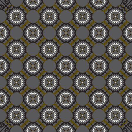 Vector seamless grey ornament background and geometric pattern