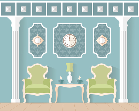waiting room: living room in classic style. Interior design in flat style. Vector illustration. Reception, waiting room, lounge in blue color.