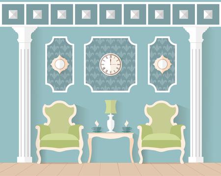 arredamento classico: soggiorno in stile classico. Interior design in stile piatto. Illustrazione vettoriale. Reception, sala, soggiorno in colore blu in attesa.