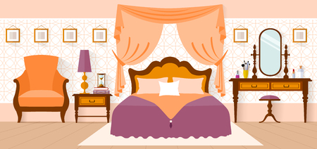 bedroom interior: Bedroom Interior with furniture, curtains, dressing table. Interior design in a flat style. Vector illustration. Bedroom design.