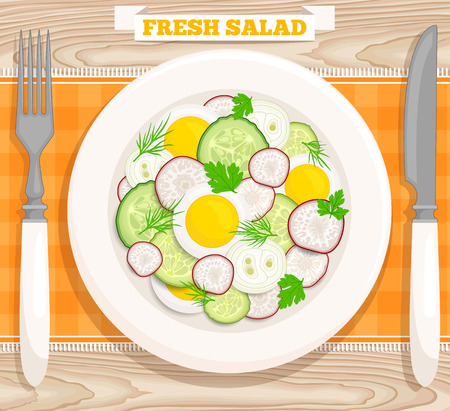 cucumber salad: Vector illustration of a fresh salad with egg, radish, cucumber,  onion, parsley, dill.  Salad top view. Illustration